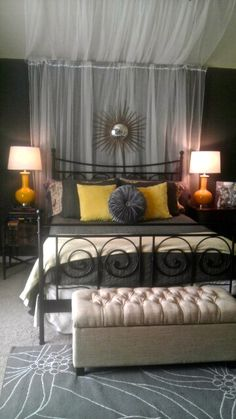 A gorgeous bedroom tour. Ikea curtains/rods, target lamps and bedding. Home Depot: Martha Stewart starburst mirror - design-h-ideas Gorgeous Bedrooms, Home, Wrought Iron Beds, Home Bedroom, Interior, Bedroom Decor, Ikea Curtain Rods, Room, Trendy Home