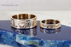 Two Tone Gold Claddagh Wedding Ring set