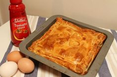 Philo pastry Recipes - Bacon And Egg Pie Puff Pastry Recipe. Pot Roast Recipes, Egg Recipes, Baking Recipes, Flour Recipes, Savoury Recipes, Side Recipes, Recipies, Egg And Bacon Pie, Egg Pie