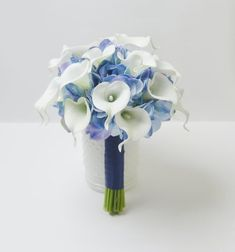 white cala lily and blue Hydrangea Wedding Bouquet Accessories Prom Party Decoration Wedding Bouquet Flower Brides Wedding. Calla Lillies Wedding, Hydrangea Bouquet Wedding, Calla Lily Bouquet, Silk Wedding Bouquets, Silk Flower Bouquets, Silk Flowers, Wedding Flowers, Blue Bouquet, Wildflowers Wedding