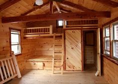 like this end as beds and bathroom.Would leave the rest open for living and later as craft cabin. One Room Cabins, Tiny Cabins, Tiny House Cabin, Tiny House Plans, Cabin Homes, Tiny Houses, Log Cabins, Wooden Houses, Log Cabin Bathrooms