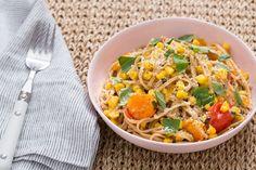 Recipe: Whole Grain Spaghetti with Corn, Cherry Tomatoes & Mascarpone Cheese - Blue Apron
