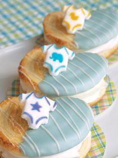 Onesie Palmier Cookies featuring Lucks Baby Onepiece Assortment Dec-Ons® decorations.