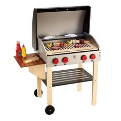 Hape - Playfully Delicious - Gourmet Grill and Shish Kabob - Play Set hape toys grill set. Gourmet Grill, Bbq Grill, Grilling, Grill Rack, Mini Grill, Small Grill, Wooden Play Kitchen, Play Kitchen Sets, Pretend Kitchen