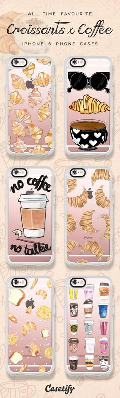All time favourite coffee and croissant iPhone 6 protective phone case designs | Click through to see more iPhone phone case designs >>> https://www.casetify.com/artworks/0sHo0vXarC #food | @casetify #PhoneCase #iphone6cases,