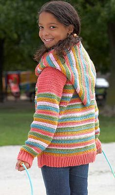 crochet hooded sweater - free pattern This was my 1st attempt at a larger sweater. This pattern was easy to follow. I made mine a solid color and used SC instead of DC (my personal preference) but since there are measurements to follow it was easy to adjust.