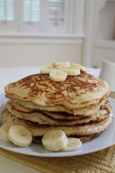 Fluffy Banana Pancakes - I added cinnamon and honey instead of sugar, and plain greek yogurt instead of milk.  Came out great!