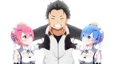 Ram and Rem with Subaru Re:Zero Anime Wallpaper Anime Life, All Anime, Anime Manga, Anime Art, Anime Stuff, Subaru, Anime Kawaii, Goblin, Re Zero Wallpaper