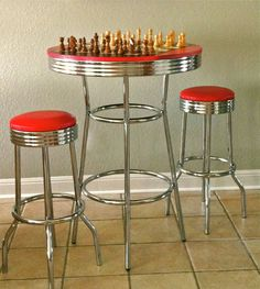 Chrome Dinette Chairs Set of 6 Red Seats Howell Modern Metal ...