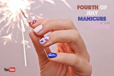 Easy Summer Nail Ideas: Fourth of July Red, White, Blue, and Silver Individual Nails Nice Nails, Simple Nails, Fun Nails, Painted Nail Art, Hand Painted, Patriotic Nail, Fireworks Design, Nail Art For Beginners, New Nail Designs