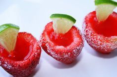 Strawberry Margarita Jello Shots in Fresh Strawberries. Amazing!!
