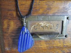 Cobalt Seaglass and Sterling Pendant by JudithGayleDesigns on Etsy, $32.00