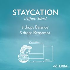 In need of a vacation? Take a staycation with the relaxing and energizing scent of this diffuser blend.