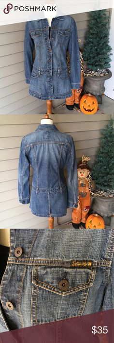 "Lucky Brand Long Denim Jacket 🌺 Stylish long denim jacket. 100% cotton. Shoulder to hem approximately 30"". Recently purchased on Poshmark but doesn't quite fit. Size medium. Lucky Brand Jackets & Coats"