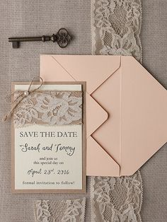 Save The Date Cards 20 Rustic Lace Save the by forlovepolkadots