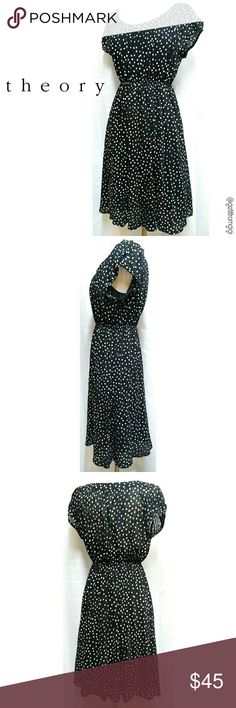 THEORY Polka Dot Dress Size P. In great pre-owned condition with minimal wear. Sheer black dress with white polka dots. Comes with underslip. I have included Theory size chart in last picture. Theory Dresses