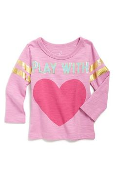 Peek 'Play with Heart' Graphic Slub Cotton Tee (Baby Girls) available at…