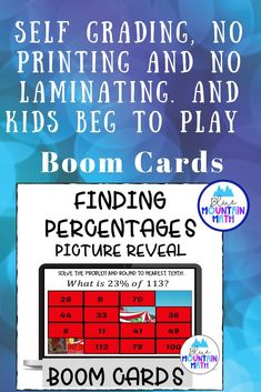 Are you looking for an interactive and self-correcting resource to practice finding percents with your students? There are 2 different pictures with 16 problems for each picture. Students start with the picture totally covered by the answer boxes. As they answer each question correctly, more and more of the covered picture is revealed.