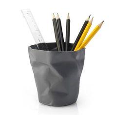 ESSEY Pen Pen Crumpled Pen Pot, Graphite Grey