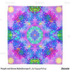 Purple and Green Kaleidoscope #Fractal #Art #Bandana