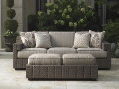 Tommy Bahama Blue Olive 2 Piece Wicker Patio Conversation Set W/ Sunbrella Fabric By - + - D + + - E Outdoor Ottomans, Outdoor Dining Chairs, Outdoor Chairs, Outdoor Living, Outdoor Spaces, Outdoor Furniture, Deep Seated Sofa, Outdoor Bar Table, Lexington Home
