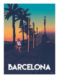 "Affiche Barcelona ""Passeig de Colom"" - Book Illustration Posters for Sale: Prints, Paintings & Wall Art . Old Poster, Retro Poster, New Travel, Spain Travel, Art Deco Posters, Poster Prints, Surf Vintage, Barcelona Travel, Barcelona Spain"