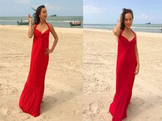 Red Halter  Beach evening long maxi Sun Beach dress by Onumadress