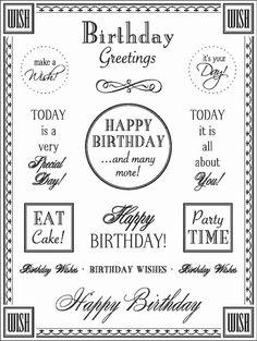 birthday sentiments to print - Google Search