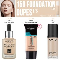 Fenty Beauty 150 Pro Filt'r Soft Matte Longwear Foundation Dupes - All In The Blush Nyx Soft Matte Lipstick, Lipstick Dupes, Makeup Dupes, Buy Makeup, Makeup Pro, Basic Makeup, Makeup Hacks, Makeup Trends, Pro Glow Foundation