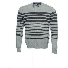 Kenneth Cole Reaction Light Gray Horizontal Striped V-Neck Sweater Xxl