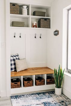 A DIY built-in bench with cubbies and hooks transforms an entryway. Closet Bench, Entry Closet, Bench Mudroom, Closet Mudroom, Entry Way Storage Bench, Entryway Bench With Storage, Closet Space, Diy Entryway Furniture, Entry Coat Rack Bench