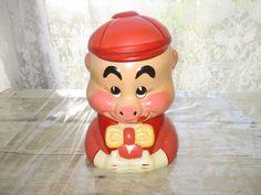 """Vintage Hand Painted Ceramic Pig Bust Cookie Jar  8"""" x 6"""""""