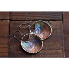 Rustic Copper Sterling Silver Mixed Metal Earrings (€38) ❤ liked on Polyvore featuring jewelry, earrings, wrap earrings, hammered sterling silver earrings, copper jewelry, red jewelry and handcrafted earrings