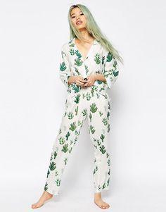 ASOS   ASOS Cactus Traditional Shirt & Long Leg Pyjama Set at ASOS                                                                                                                                                                                 More