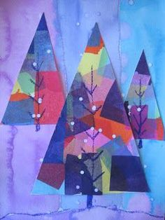 """""""Art Projects for Kids"""" has a wonderful and simple abstract winter tree lesson. I decided to add the extra element of decoupaging colored ti. tree 14 Wonderful Winter Art Projects for Kids Christmas Art Projects, Winter Art Projects, Winter Crafts For Kids, Xmas Crafts, Christmas Art For Kids, Paper Art Projects, Winter Project, Kid Crafts, Kindergarten Art"""