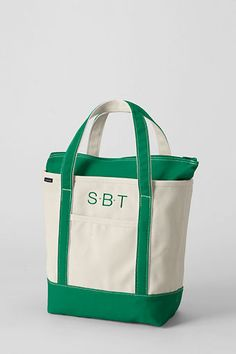 For Jonah Medium Natural Zip Top Canvas Tote Bag From Lands End Color True Navy Monogram Word Font Am Typewriter Location Predefined