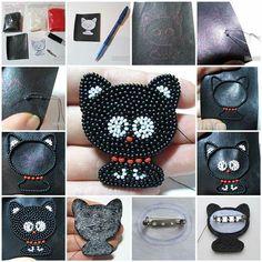 DIY Beaded Kitten Brooch   iCreativeIdeas.com Like Us on Facebook ==> https://www.facebook.com/icreativeideas