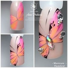 Amazing nail salon design I like! Butterfly Nail Designs, Butterfly Nail Art, Hard Nails, Thin Nails, Nail Art Design Gallery, Nail Art Designs, Nail Art Diy, Cool Nail Art, Spring Nails