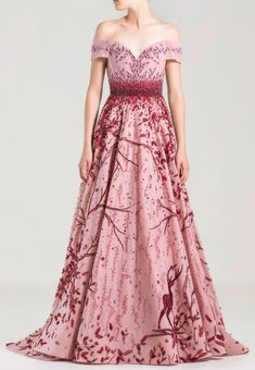 Off Shoulder Ball Gown, Shoulder Dress, Long Sleeve Gown, Full Length Gowns, Vintage Gowns, A Line Gown, Beautiful Gowns, Beautiful Models, Couture Dresses