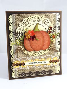 Pumpkin Handmade Card, Shabby Chic Card, Handmade Card, Thanksgiving Card…