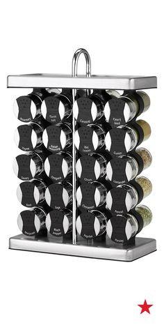 With an neat, wine rack-inspired design, this Martha Stewart Collection spice rack saves counter space and keeps 20 of your favorites herbs and spices close at hand.