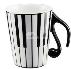 Porcelain Black, Cold Porcelain, Tea Cup With Lid, Coffee Cups, Tea Cups, White Piano, Cool Mugs, Music Gifts, Key Design