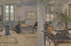 Edouard Vuillard - 253 Intérieur - В комнате. Релэ - Toile marouflée sur bois - 1898 - 52x79 - Vollard, 29 avril 1899, 300f - cat.1913, 5 - inv. Ermitage 6538