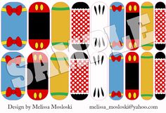 Nails inspired by Mickey and friends?  Why, yes please!  Disney inspired custom design created by Melissa Mosloski - Jamberry Nails Independent Consultant. melissakay.jamberrynails.net