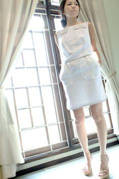 Mini Cream Dress W/Layered Rectangular Collars by MoonCircus