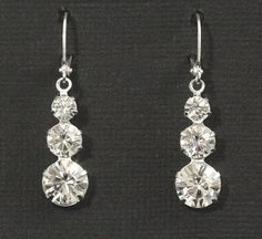 Rhinestone Earrings -- Bridal Earrings, Bridal Jewelry, Wedding, Bridesmaids Earrings, Silver, Rhinestones, Dangles, Drops -- GLISTEN