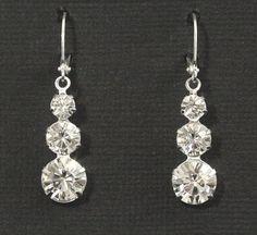 Rhinestone Earrings -- Bridal Earrings, Bridal Jewelry, Wedding, Bridesmaids Earrings, Silver, Rhinestones, Dangles, Drops -- GLISTEN