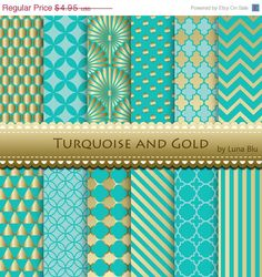 SALE 60% OFF Turquoise and Gold Scrapbook Paper: by Lunabludesign