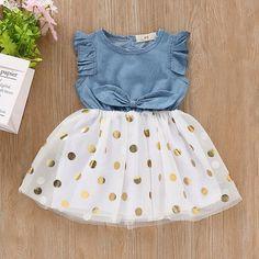 Ruffle Denim Polka Dot Tulle Dress - Baby Girl Dress - Ideas of Baby Girl Dress Frocks For Girls, Kids Outfits Girls, Little Girl Dresses, Girl Outfits, Girls Dresses, Baby Dresses, Peasant Dresses, Sleeveless Dresses, Sleeve Dresses