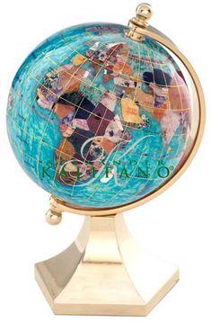 "4"" Bahama Blue Gemstone Globe in 24k Gold Contempo Stand"